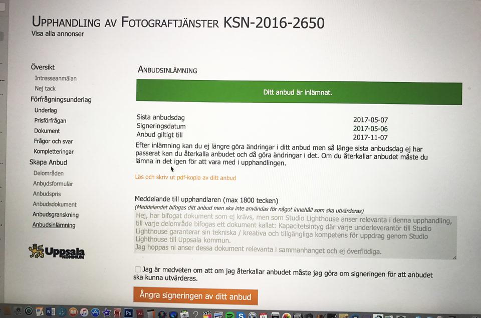 Fixat Upphandlingen till Uppsalakommun inskickad !